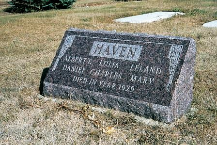 The Haven gravesite in the Schafer Cemetery