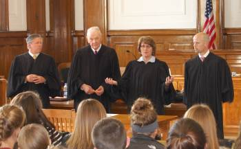 Students from Devils  Lake High School and Wolford High School had questions for the Court after  arguments.