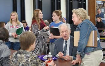 Chief Justice VandeWalle and the rest of the justices dined with Harvey students after the argument.