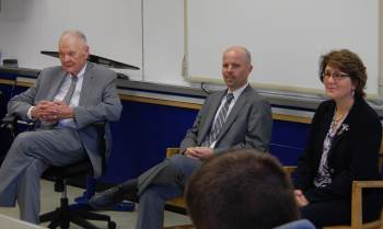 Chief Justice VandeWalle, Justice  Jerod Tufte, and Justice McEvers spoke with seniors.