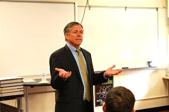 Justice Dan Crothers spoke with juniors and seniors at Maple Valley High School.