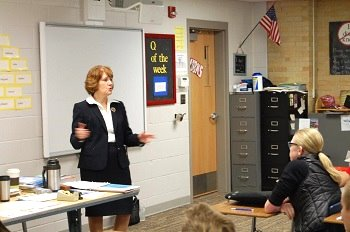 Justice Lisa Fair McEvers gave 7th grade students some insight into her work.