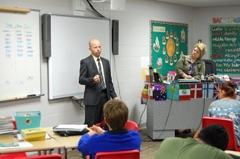 Justice Jerod Tufte talked about the Supreme Court's role with 8th grade students.