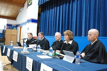 The Court listens to arguments in State v.  Sheperd in the school gymnasium.