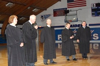 The Court visited with students from Enderlin  and Barnes County North after the argument.