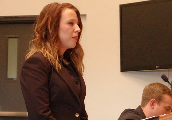 Amanda Tucker listened to a question while presenting arguments for the respondent.