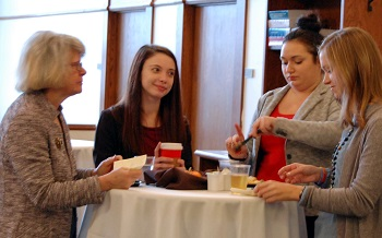 On the morning of Nov. 4, Justice Kapsner and Justice Lisa Fair McEvers had breakfast with members of the UND Law Women's Caucus.