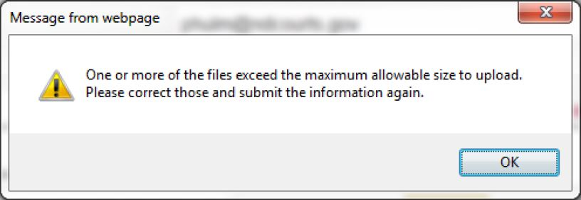 Max file size error message